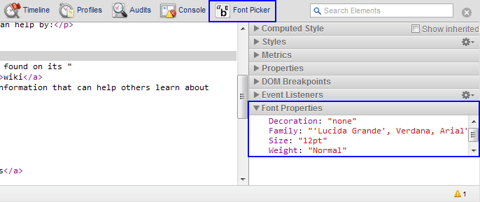 Extension icon panel on DevTools toolbar