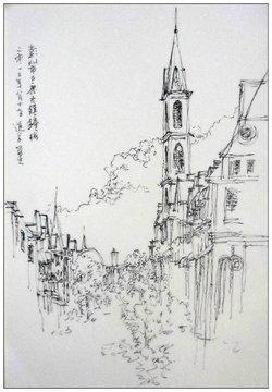 古镇手绘细节图