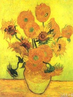 梵高两朵向日葵 梵高七朵向日葵 梵高向日葵油画原画        250x332