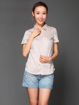 女式纯棉短袖衬衫