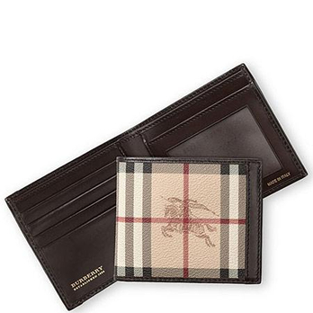 burberry巴宝莉 经典格子图案男士折叠钱包