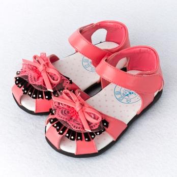 大黄蜂 蝴蝶结皮凉鞋