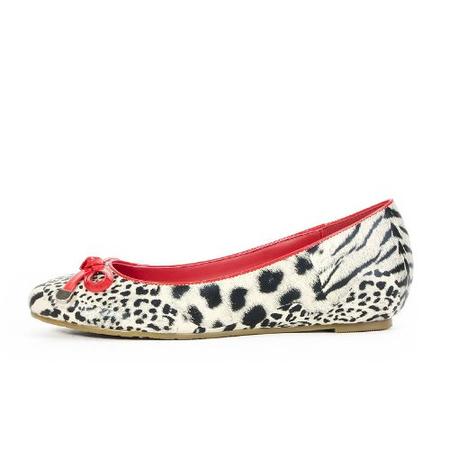 豹纹蝴蝶结内增高单鞋