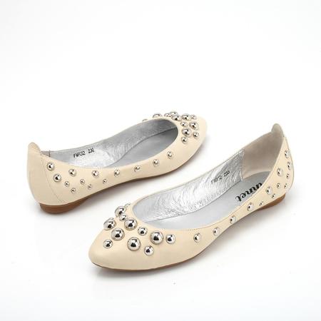黄软羊皮女皮鞋