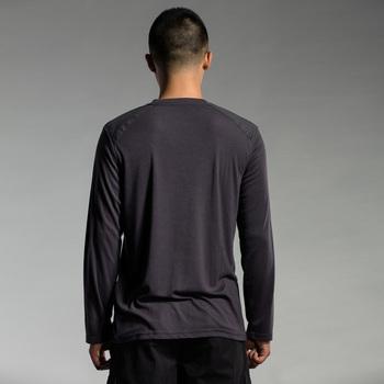 圣迪奥 sdeer 男装秋装简约拼接布logo长袖T恤9170261 炭黑蓝 S