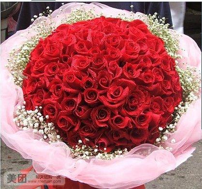 99朵 红 玫瑰花束 预定圣诞节鲜花特价苏州鲜花