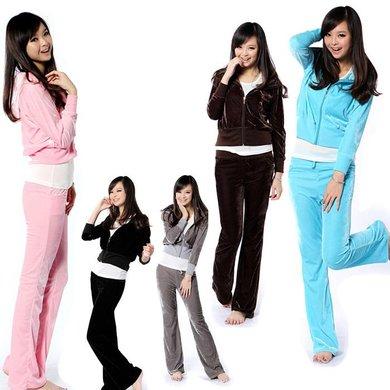 外套开衫韩版天鹅绒运动套装时尚休闲女式套