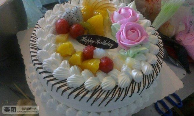 心形欧式水果蛋糕图片