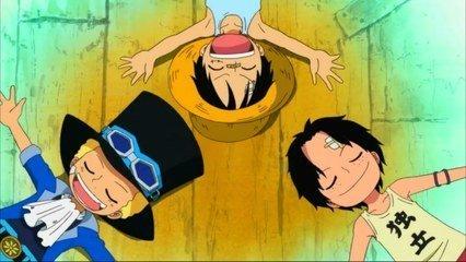 海贼王路飞小时候三兄弟的图片
