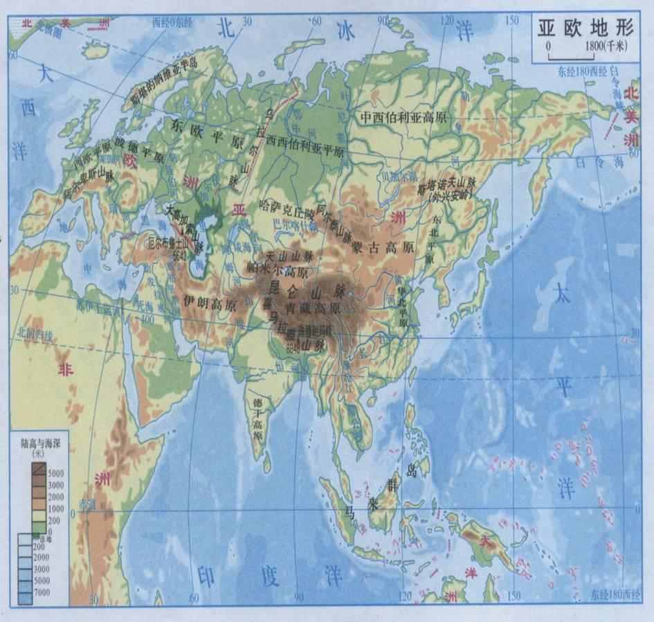 亚洲气候手绘图