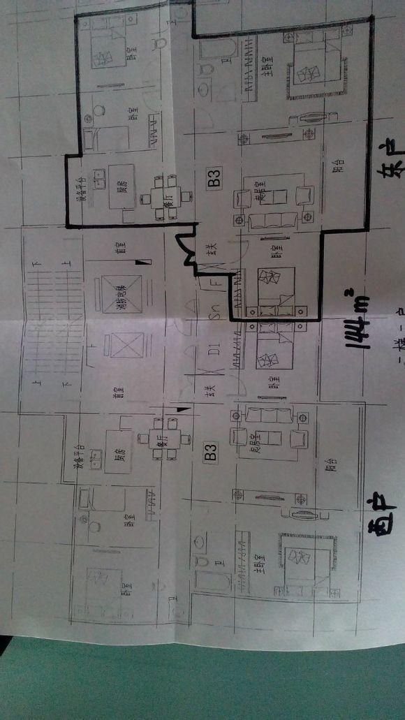 144平房四室两厅两卫,两梯两户户型