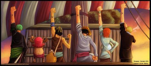海贼王全员举手的高清大图能做桌面是全员面对夕阳举手的