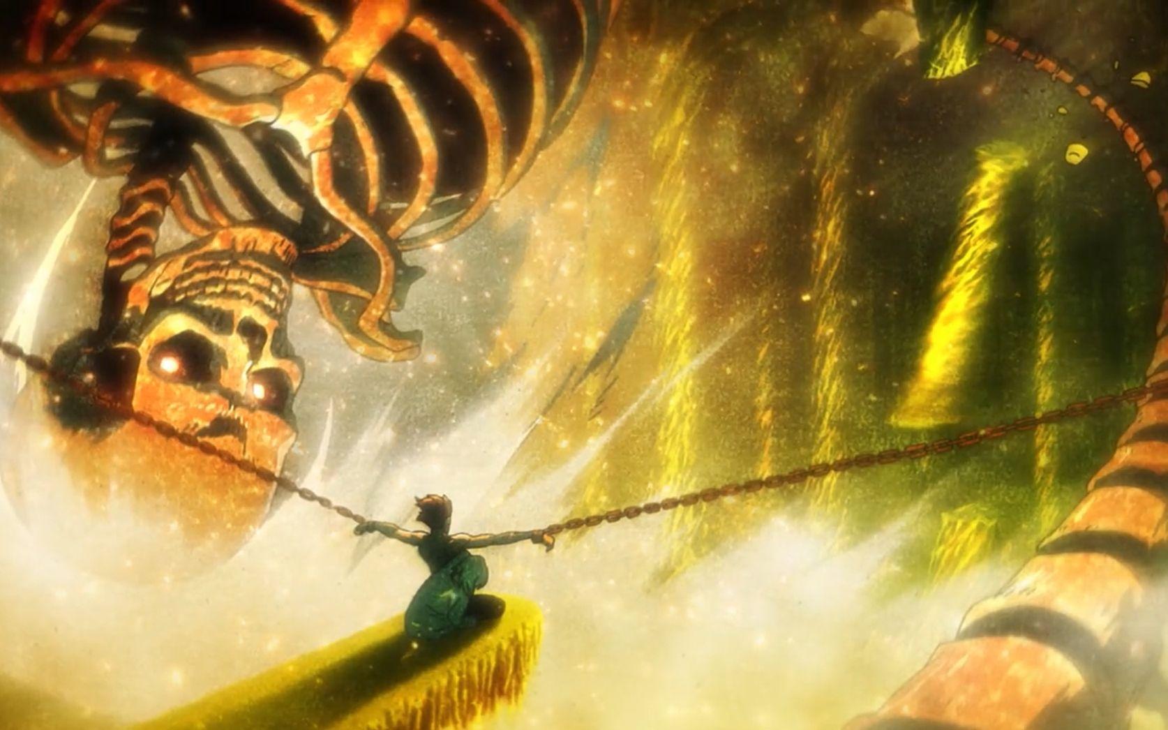 进击的巨人第三季,泽野摔针神曲和120米级巨人!艾伦被喰,女王降临,高虐片段 1:24, 高燃片段 4:38