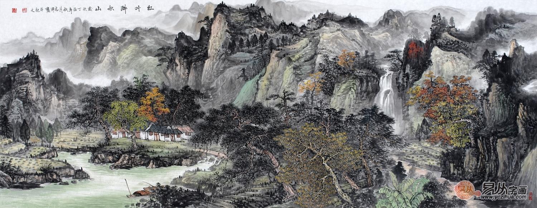 巨型横幅国画山水大�_龙志军最新力作六尺横幅山水国画作品《红叶醉秋山》(68*178cm)
