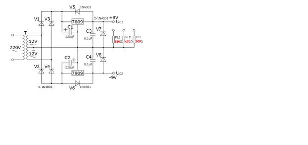 可输出50v 的正负稳压电源电路