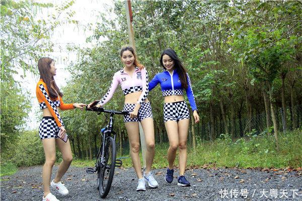 女大学生单车女郎骑游花都农场,倡导市民五一假期绿色