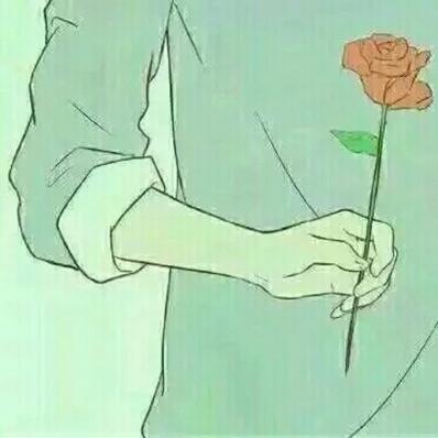 求一个情侣卡通头像,求女生的,是一个背影,背着手拿着一朵玫瑰,白色衣