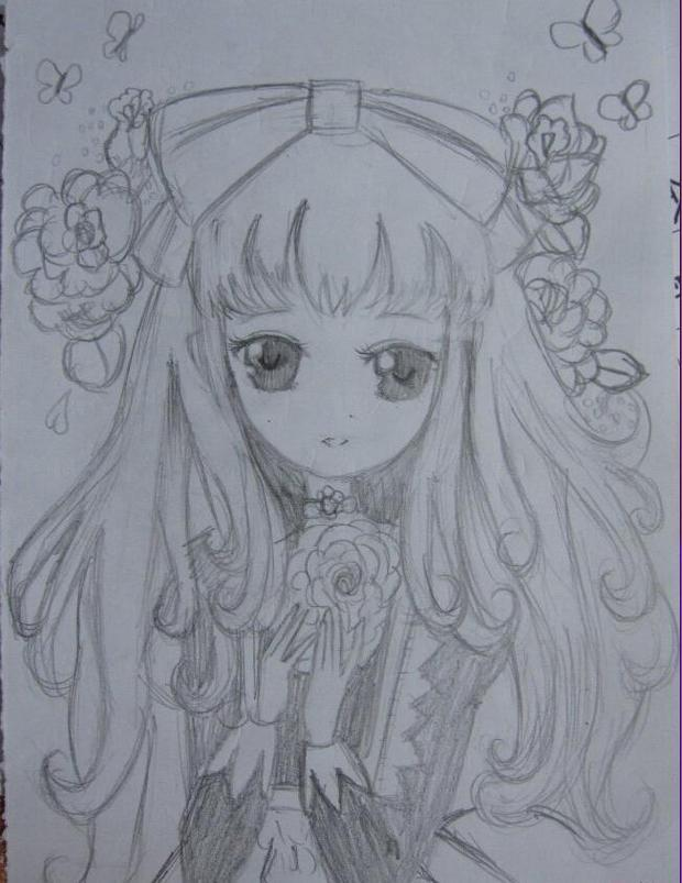 小公主卡通素描 动漫小公主素描 动漫小公主素描画