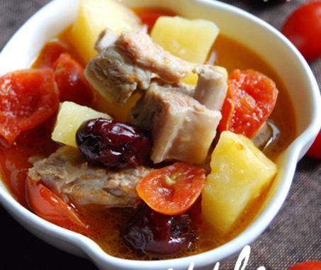 猪肝排骨汤紫土豆炒洋葱图片