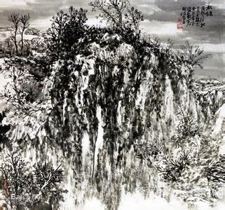 平原乡村山水画