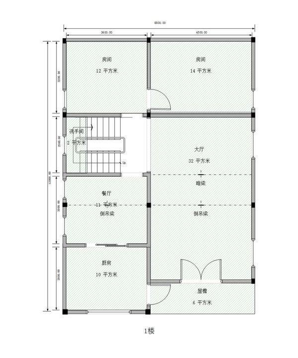 在农村准备建2层半的房子,8x12米,自己设计了平面图,请大仙指点!
