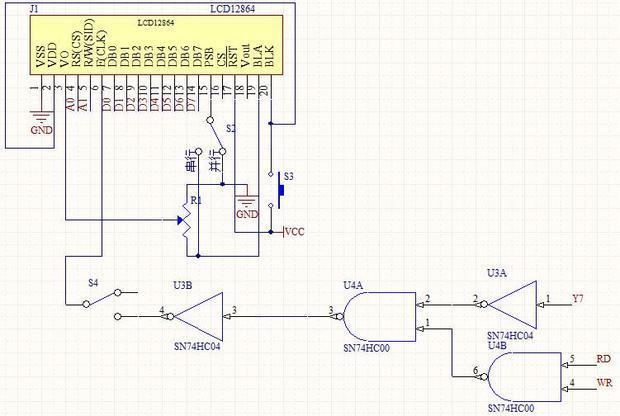 12864和51单片机连接的电路图