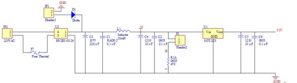 看到的一个将220v交流电转换成3.3v直流电的电路图