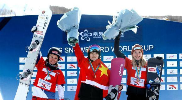 国际雪联单板滑雪平行项目世界杯 宫乃莹摘首金