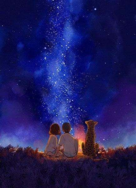 仰望星空的猫 夜晚一个人仰望星空 仰望星空派