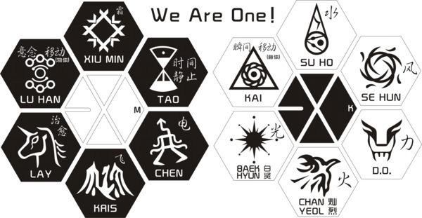 exo的标志图案 exo每个人的标志图案 exo标志