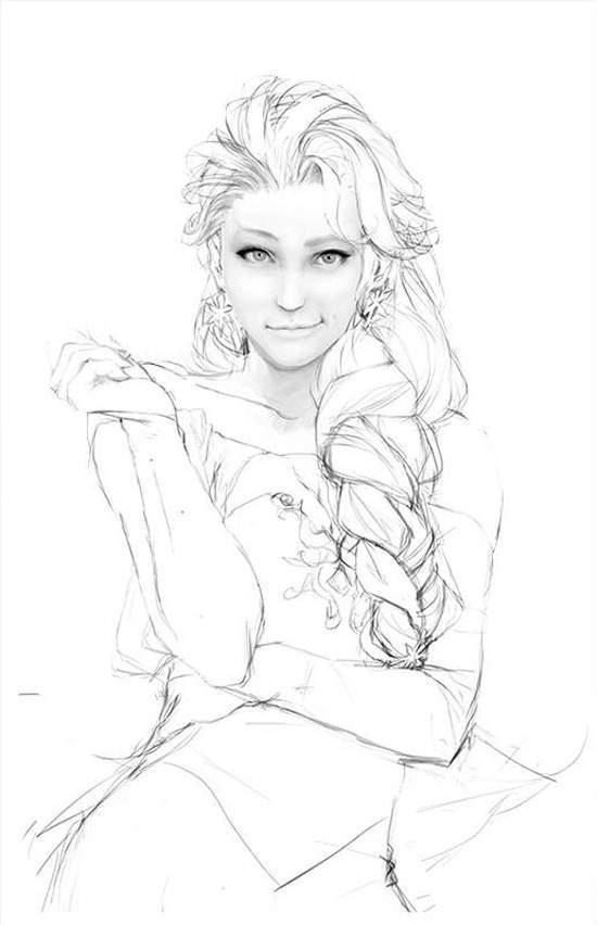 冰雪奇缘艾莎素描图怎么画