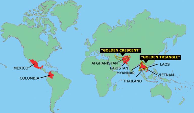 海洛因生产地区地图