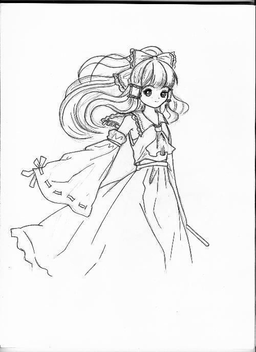 铅笔素描的日本卡通美少女~~~~~~~~~~~