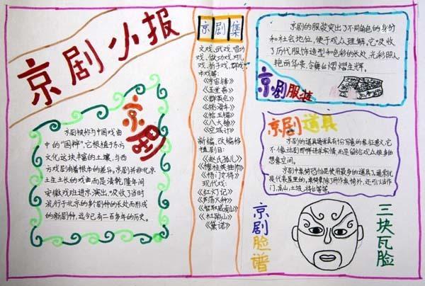 的我爱京剧,京剧脸谱 手抄报 京剧是我国的国粹,是我国经-关于