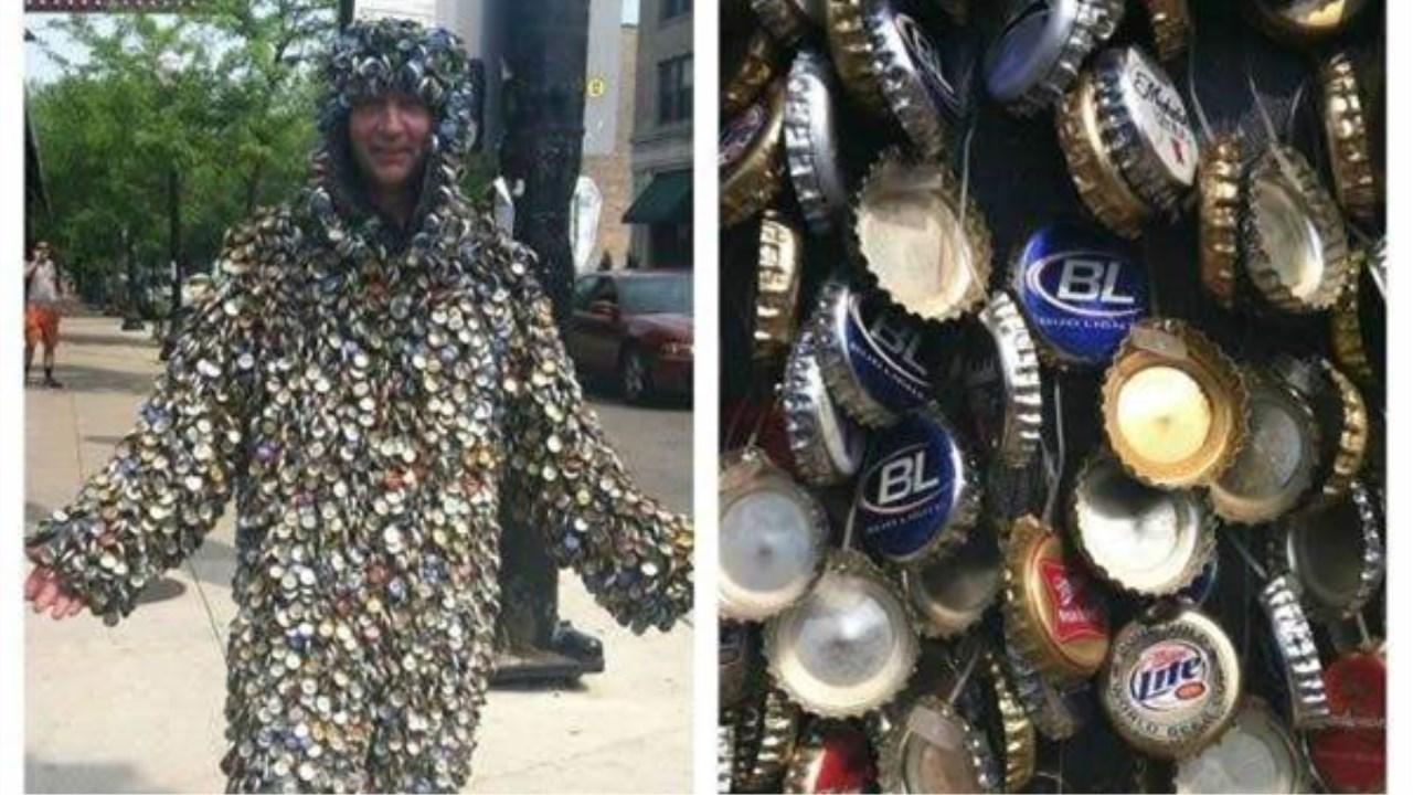 摧绵大湿:太奇葩!用啤酒盖制作的衣服