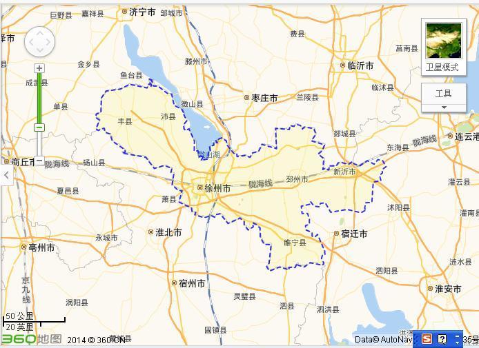 徐州到江苏的地图