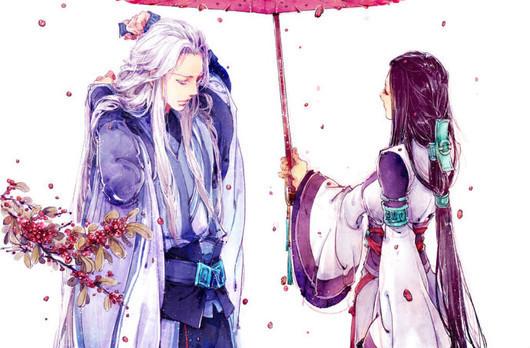 要动漫男帮女撑伞的