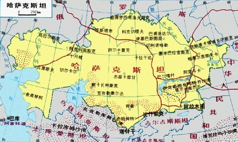 哈萨克斯坦地图