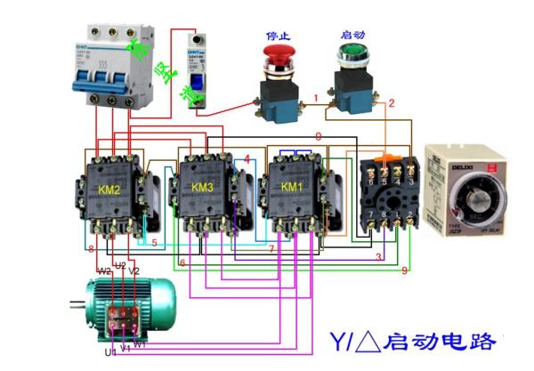请问星三角起动时间继电器是220v型号是js14a线怎么接求实物接线图