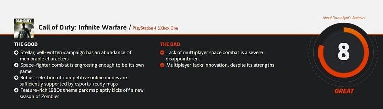 《使命召唤13:无限战争》媒体评分