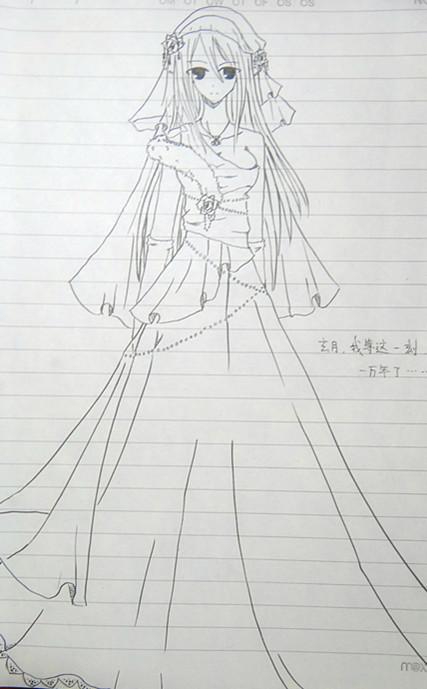 漫画少女手绘_书画美术