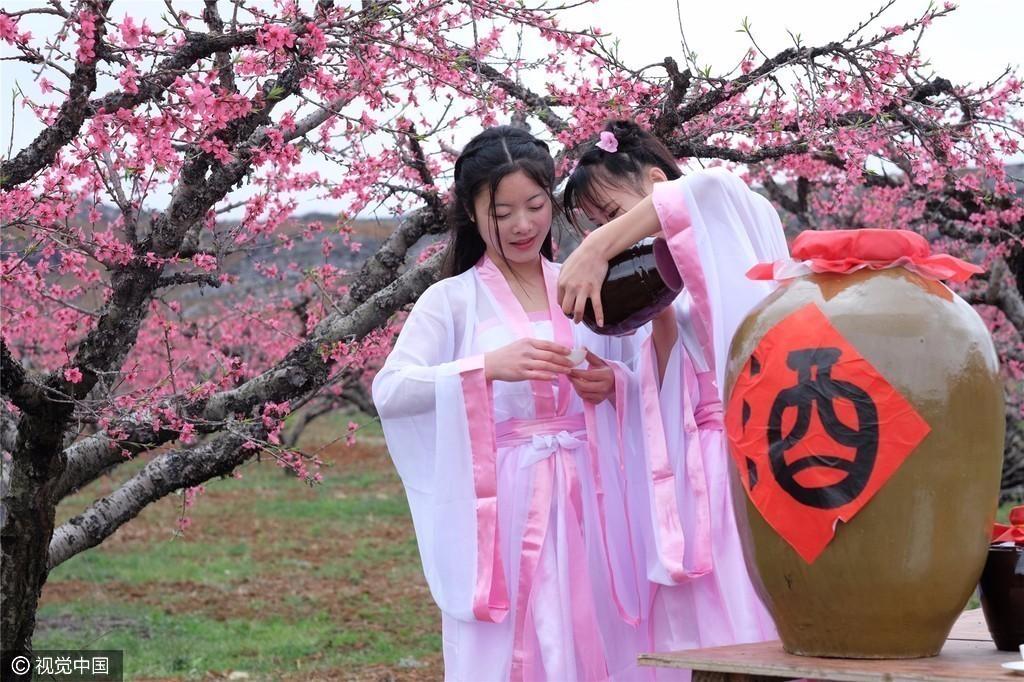 连州桃花节:古装美女花间吃酒 有人现场表白