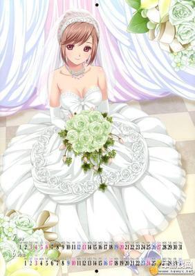 求动漫少女好看白色长裙或白色婚纱