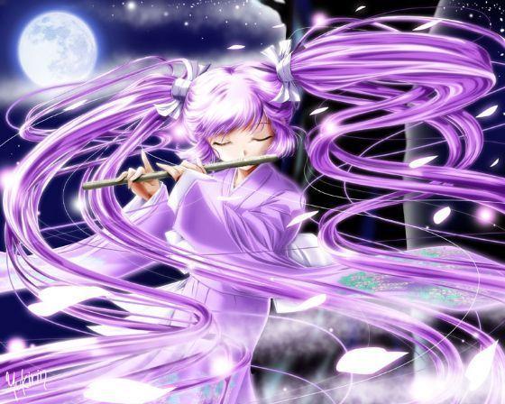 紫色头发卡通动漫少女