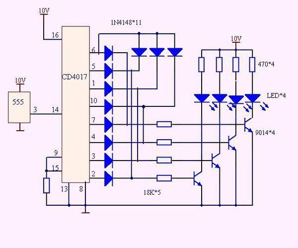 四路彩灯电路图没问题吧,还有555定时器产生的脉冲信号生活中能用更