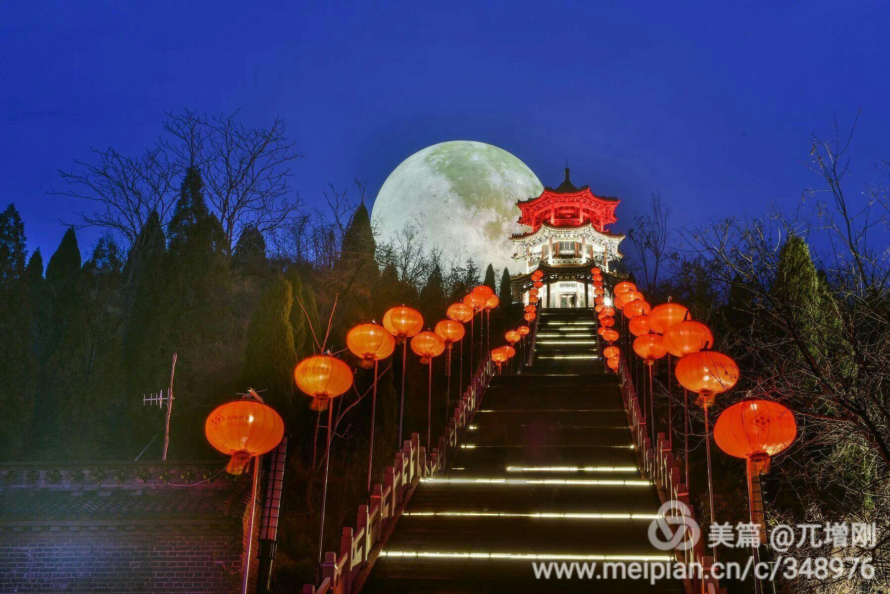 """三门峡最大最亮""""超级月亮""""点亮高阳山夜空 - 秦岭的风 - 秦岭的风"""