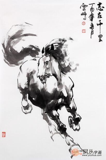 骏马图 陈云鹏四尺三裁动物画马《志在千里》作品来源:易从网