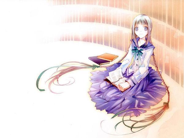 有没有一个女孩小女看书短发坐在的动漫_360生动漫墙角图片图片