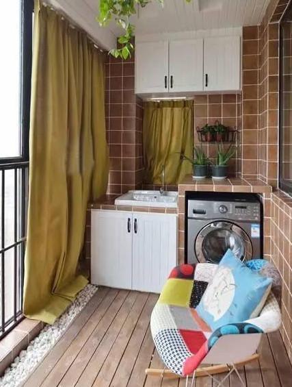 头一次知道阳台洗衣台还可以砖砌,这装修效果简直太赞