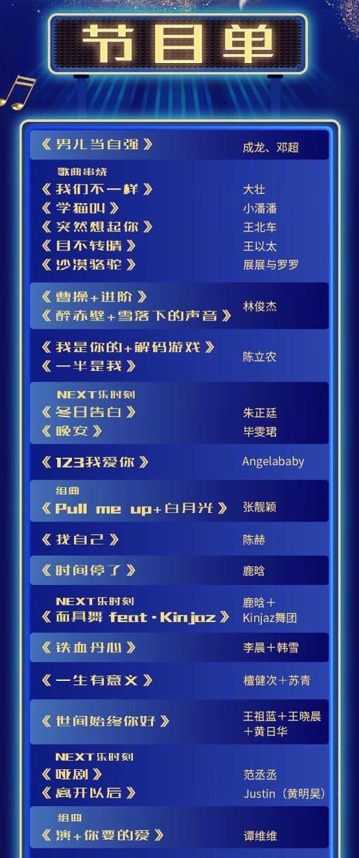 浙江卫视2019跨年演唱会歌单:开场都是抖音歌